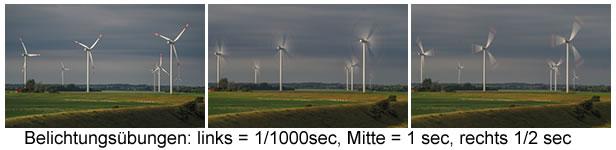 Windräder; Belichtungszeiten